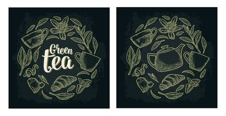 Set with lettering Green Tea. Vector vintage engraving Ilustracja