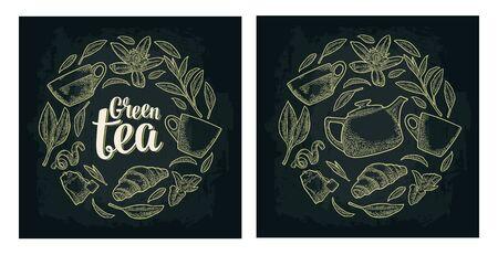 Set with lettering Green Tea. Vector vintage engraving Illustration