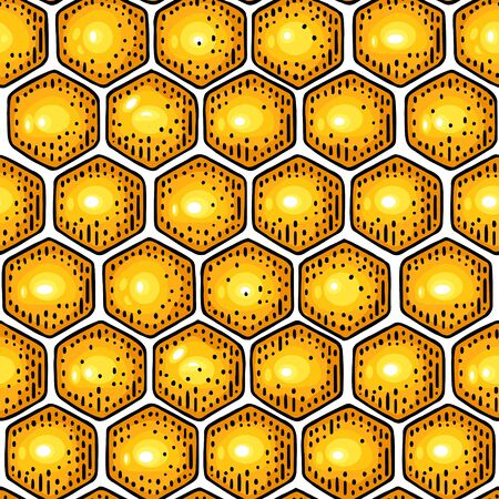 Honey Seamless Pattern with honeycomb. Vector engraving
