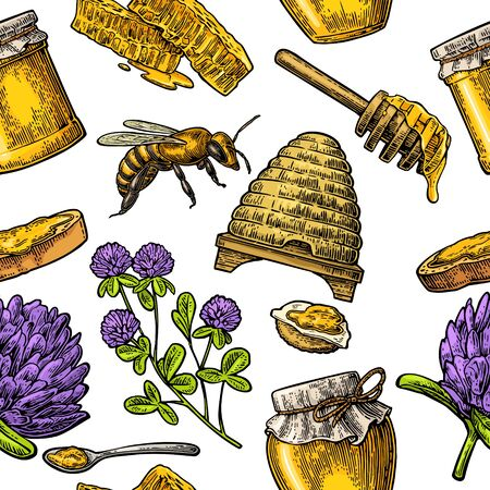 Seamless Pattern with honey, bee, hive, clover, spoon, cracker, bread and honeycomb. Vector vintage color engraved illustration. Isolated on white background Illusztráció