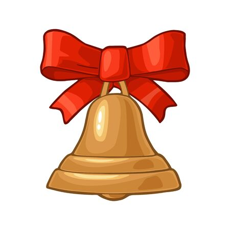 Christmas gold bell with red bow. Isolated on white background. Vector vintage color flat and engraving illustration. Illustration