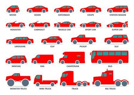 Car type icons set. Model automobile. Ilustrace