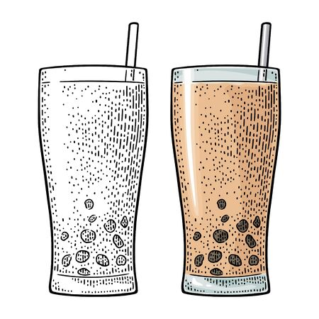Bubble milk tea with tapioca pearl ball in glass. Vector vintage engraving