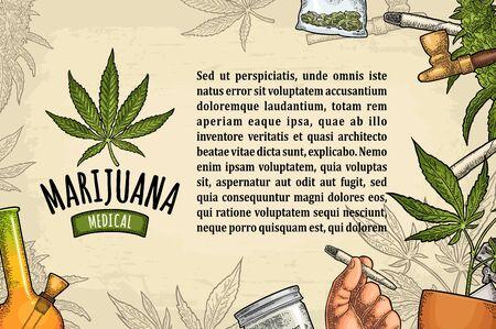 Horizontal poster cannabis. Cigarette, lighter, buds, leaves, bottle, jar, plastic bag, pipe. Vintage color vector engraving illustration isolated on beige. Handwriting lettering Marijuana medical
