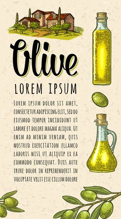 Vertical template for menu, poster, label olive oil. Bottle, jug, branch with leaves. Landscape with villa or farm with field, tree and cypress. Vector black vintage engraving isolated on craft paper