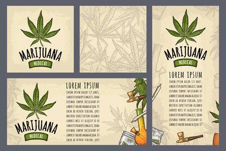 Set Vorlage Poster Marijuana.Vintage Farbvektorgravur