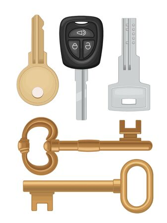 Set keys icons. Classic, vintage, car, modern style. Color vector flat illustration for info graphic, poster, web. Isolated on white background.