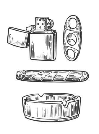 Lighter, cigar, ashtray, guillotines for cigars. Set of vintage smoking tobacco elements.