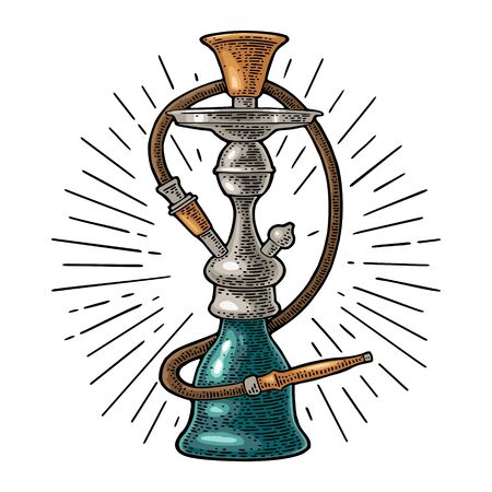 Hookah with rays. Vector vintage engraving color illustration isolated on white