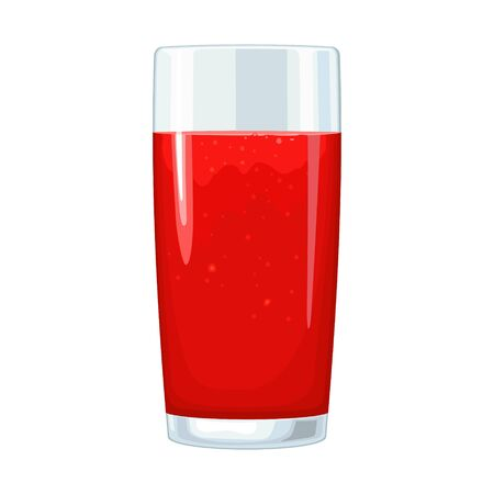 Glass of tomato juice. Vector flat color illustration. Isolated on white Ilustrace