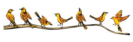Golden Oriole perched in various poses on a branch. Set sitting and flying bird. Vector flat illustration. Ilustrace