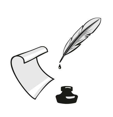 Feather, inkwell, roll paper. Vector gray flat illustration. Isolated on white background
