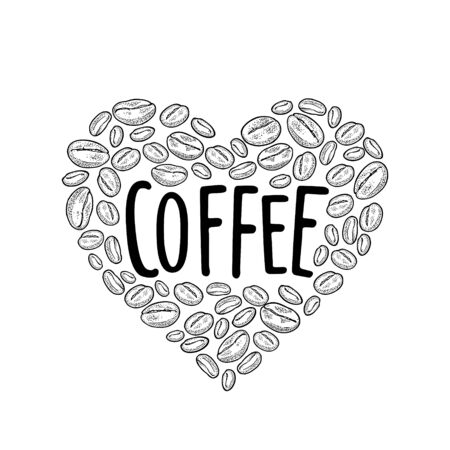 Coffee beans composition heart shaped. Vintage vector black engraving