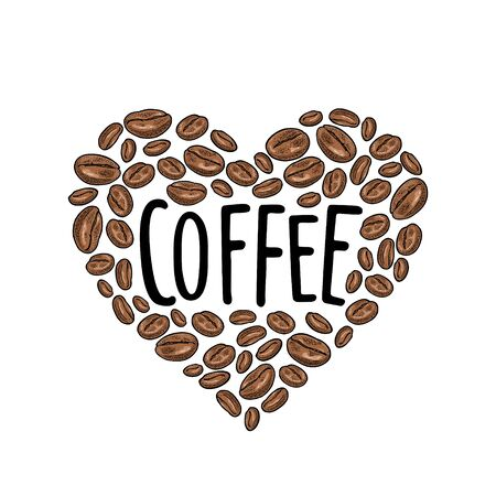 Coffee beans composition heart shaped. Vintage vector color engraving Ilustrace