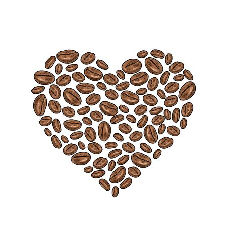 Coffee beans composition heart shaped. Vintage vector color engraving illustration isolated on white background. Hand drawn design element for label and poster Ilustrace