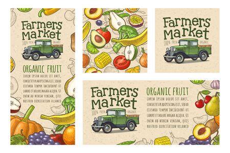 Retro pickup truck engraving. Handwriting lettering Farmers market