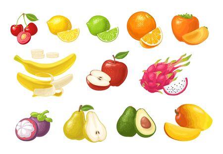 Set fruits. Cherry, lemon, lime, orange, persimmon, banana, apple, dragon mangosteen avocado pear mango Vector color flat illustration isolated on white