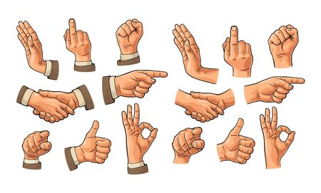 Male hand sign in sleeve suit and without. Fist, Like, handshake, Ok, Pointing, Stop, finger viewer from front. Vector vintage engraved illustration isolated white background. Making thumb up gesture