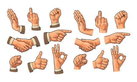 Signo de mano masculino en traje de manga y sin. Puño, Me gusta, apretón de manos, Ok, Señalar, Detener, visor de dedos desde el frente. Fondo blanco aislado de la ilustración grabada de la vendimia del vector. Haciendo gesto con el pulgar hacia arriba