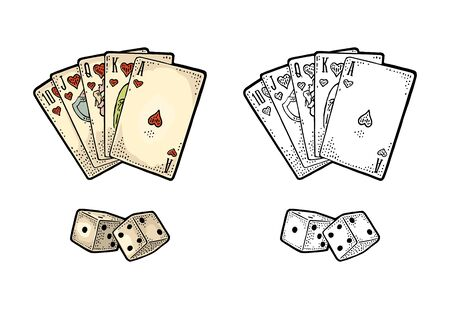 Playing cards poker and two white dice. Royal flush in hearts. Vector black and color vintage engraving illustration for poster, label, banner, web. Isolated on white background. Hand drawn design element