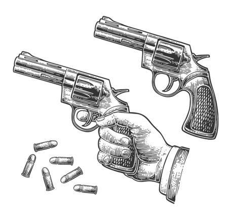 Hand holding revolver with bullets isolated on white background. Vector engraving vintage illustrations. For tattoo, web, shooting club and label