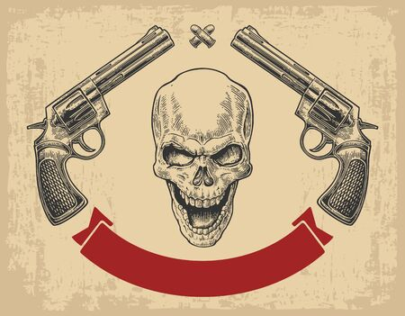 Two revolver with bullets, skull and ribbon.