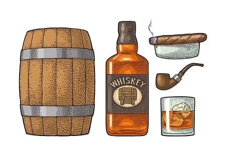 Whiskey glass with ice cubes, barrel, bottle and cigar.