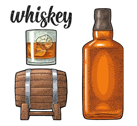 Whiskey glass with ice cubes, barrel, bottle