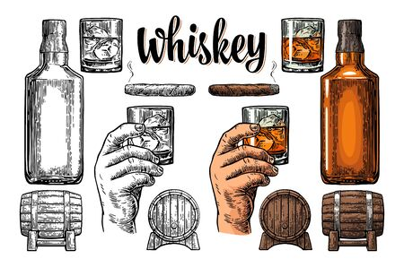 Whiskey glass with ice cubes, barrel, bottle and cigar. Engraving