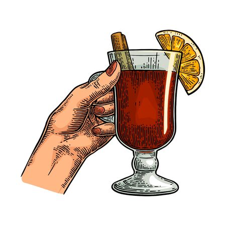 Female hand holding a glass of mulled wine with cinnamon stick and orange slice. Vintage color vector engraving illustration isolated on white. Hand drawn design element for invitation to party