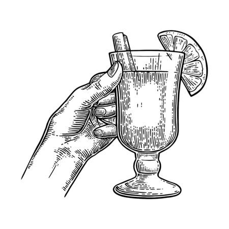 Female hand holding a glass of mulled wine with cinnamon stick and lemon slice. Vintage black vector engraving illustration isolated on white. Hand drawn design element for label and poster 向量圖像