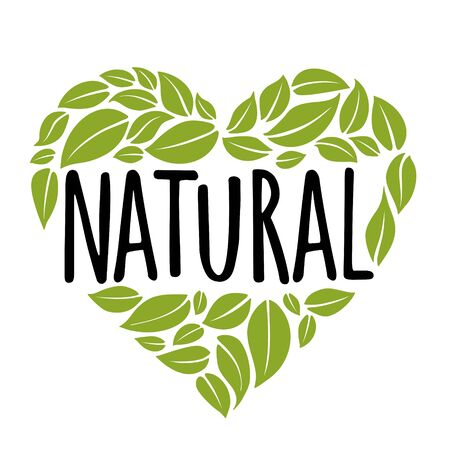 Natural handwriting lettering. Green leaves composition heart shaped. Vector illustration Ilustrace