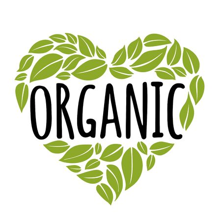 Organic handwriting lettering. Green leaves composition heart shaped. Vector illustration