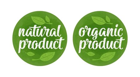 Natural organic product lettering with leaf. Vector dark green vintage illustration Banque d'images - 137803871
