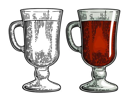 Glass of mulled wine. Vector engraving isolated on white