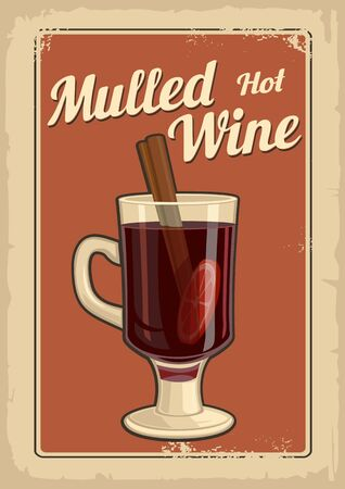 Mulled wine with glass of drink and ingredients.Vector old paper texture background. Vintage vector illustration for greeting card, invitation, banner and poster.