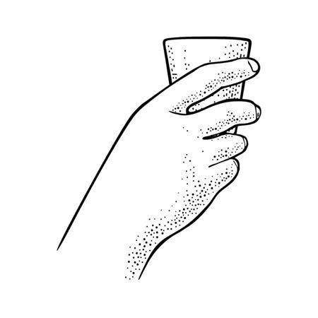 Female hand holding glass rum. Vintage vector engraving