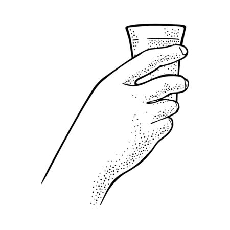 Female hand holding glass tequila. Vintage black vector engraving illustration for label, poster, invitation to party. Isolated on white background