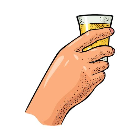 Female hand holding glass tequila. Vintage vector engraving
