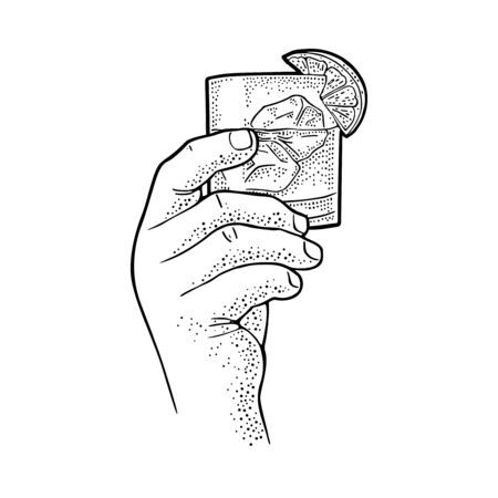 Male hand holding glass gin. Vintage black vector engraving illustration for label, poster, invitation to party. Isolated on white background
