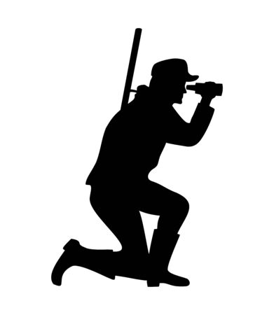 Hunter with gun looks through binoculars. People silhouette icon. Vector black illustration isolated on white background.