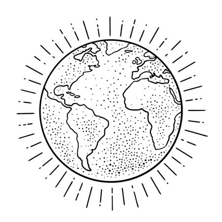 Earth planet. Vector black vintage engraving illustration isolated on a white background. For web, poster, info graphic.