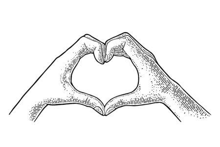 Fingers show heart. Vector black vintage illustration isolated on a white background. For poster valentines day Ilustração Vetorial