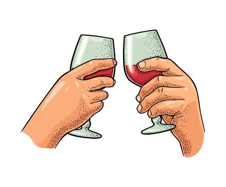 Two hands holding and clinking a glass of wine. Vintage color vector engraving illustration for web, poster, invitation to party. Hand drawn design element isolated on white background.