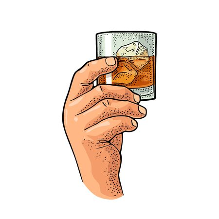 Male hand holding glass whiskey. Vintage color vector engraving illustration for label, poster, invitation to party. Isolated on white background
