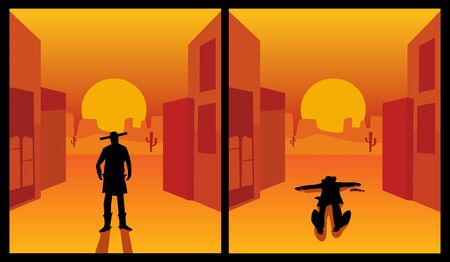 Wild west gunslinger. The shootout process of a cowboy is holding hands on pistols and and lies on the ground killed. Background the city and the desert. Color flat vector illustration