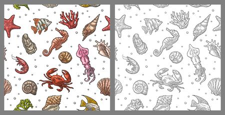 Seamless pattern sea shell, coral, cuttlefish, coral, oyster, crab, shrimp, seaweed, star, fish.