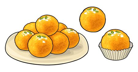 Indian traditional sweets Ladoo in plate. Vector flat illustration