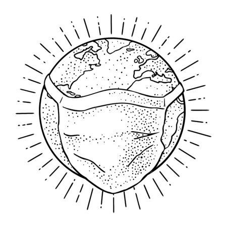 Earth planet in medical face mask. Vintage black engraving illustration. Isolated on white background. Hand drawn design element for medical poster coronavirus quarantine