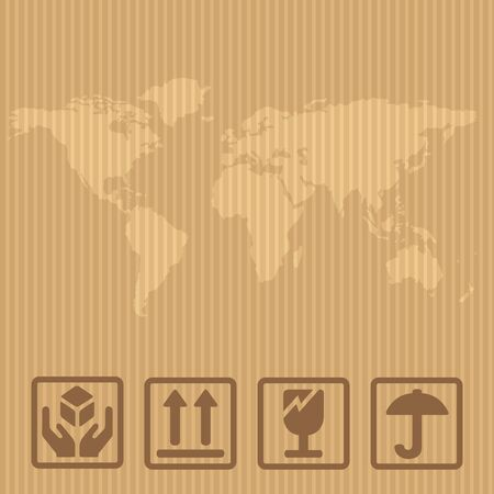 Fragile signs and world map packaging box. Vector illustration isolated box on brown carton delivery background for web, icon, banner, infographic.